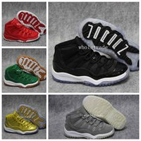 Wholesale Kids Clipper - Kids Air Retro 11 Space Jam Gold Playoff Clippers Red Velvet Miami Hurricanes Legend Blue 72-10 Heiress Suede Retro 11s Sneakers Size 28-35