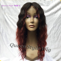 Wholesale Curly Hair Half Wigs Cheap - Hot Cheap 100% Brazilian Curly Hair Wig Soft Smooth Virgin Human Hair Half Hand Tied Lace Front Wigs Black Ombre Dark Red Burgundy
