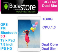 Wholesale Chinese Dual Core Tablet - Wholesale- Free Shipping Boda tablet pc 3G WIFI Bluetooth GPS phone call 7.8 inch tablet with sim card slot MTK8382 Dual core 1G 8G