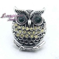 Wholesale Owl Metals - High qualit Owl W092 18mm 20mm rhinestone metal button for snap button Bracelet Necklace Jewelry For Women Silver jewelry