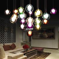 Wholesale Coloured Glass Balls - modern minimalist LED colour glass ball ceiling light bedroom Lobby pendant lamp