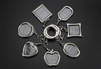 fotoğraf çerçevesi anahtarlıkları toptan satış-6 Tasarımlar Çift Kalp Yuvarlak Kare Şekil Fotoğraf Çerçevesi Anahtarlık Fotoğraf Anahtarlık Çinko Alaşım Anahtarlık