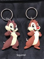 Wholesale Double Men Toys - cute Chip 'n' Dale PVC rubber double-sided keychains ring kids toys cute cartoon Chip 'n' Dale keychains child gift new style