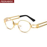 Wholesale Retro Nerd Glasses - Wholesale- Peekaboo retro clear lens nerd glasses frames for men male oval small round eyeglasses for women gold metal hollow 2017