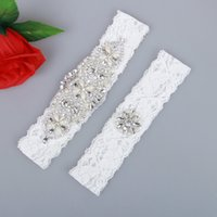 Wholesale Garter Sets Cheap - 2 Pieces set Sexy Real Picture Pearls Glass Crystals Bridal Garters for Bride Lace Wedding Garters Handmade Cheap Wedding Leg Garters