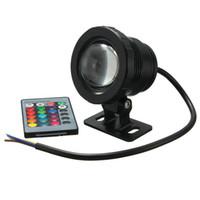 ingrosso fontana per piscina a distanza-AC85-265V / DC12V 5W Impermeabile LED RGB Subacquea Fontana Pool Pond Spotlight Lampada con telecomando