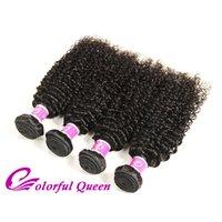 bakire kıvırcık afro örgü toptan satış-Renkli Kraliçe Malezya Kıvırcık Saç Afro Kinky Kıvırcık Saç Örgüleri 4 Demetleri Işlenmemiş Malezya Kinky Kıvırcık Virgin İnsan Saç Uzantıları