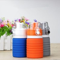 Wholesale Stainless Steel Retractable Folding Cup - Silicone Folding Water Bottle 500ML Foldable Outdoor Travel Retractable Collapsible Cups Outdoors Traveling Sport Cycling Drinkware OOA2077