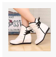 Wholesale Plus Size Rubber Boots - Wholesale- Shoes Woman Drop Shipping Wholesale new 2016 Plus Size Hidden Wedges Heel Yellow White Red Motorcycle Autumn Women Boots