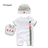 Wholesale Romper Bibs - new arrival summer brand baby romper set hat and bibs kids baby romper boy girl set shorts set clothing