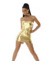 Wholesale Sexy Club Dresses Metallic - Gold Blue Red Silver Black Sexy Women Strapless Mini Dress Wet Look Metallic Dancing Stage Clothes Short Boob Tube Dress