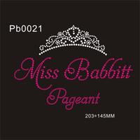 pedrería corona de hierro al por mayor-Brillante Pretty Hot Fix Crystal Crown Miss Babbitt Pageant Calor rhinestone transferencia de hierro en la ropa DiIY para el hogar 30piece