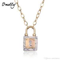 marcas de joyas de época al por mayor-Vintage alta calidad Turquiose Pad Lock collares pendientes Kate Scott Fashion Lock joyería marca joyería Gold Filled
