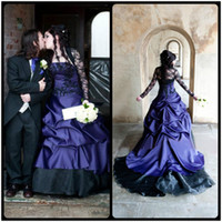 Wholesale Medieval Lace Dress - 2017 Wedding Dress Black and Purple Bridal Gowns Long Sleeve Vintage Medieval Gothic Masquerade A Line Ball Halloween vestido de