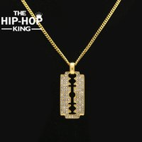 Al por mayor- EL HIP HOP KING Razor Blade Collar Hip Hop Gold Color Mens Iced Out Rhinestone colgante collar con cadena libre 27.5 '' cubano