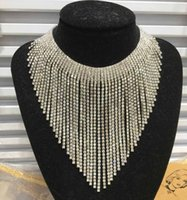 Wholesale Titanium Collars - Silver Gold Diamond Dangle Choker Adjustable Rhinestone Statement Trendy Sexy Fashion Necklace With Clear Crystal Bridal Wedding Jewelry