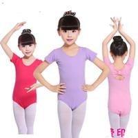 kısa dancewear toptan satış-Kız için Leotard Bale Bodysuit Çocuk Kız dancewear Geri yay Okul performansı Yaz Kısa kollu Logo baskı Ismarlama 2-9years