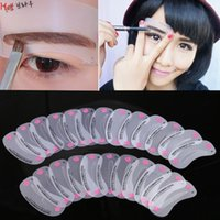 Wholesale beauty templates - 24 Pcs Pro Reusable Eyebrow Stencil Set DIY Drawing Guide Styling Shaping Grooming Template Card Eye Brow Shapers Makeup Beauty Kit LP001179