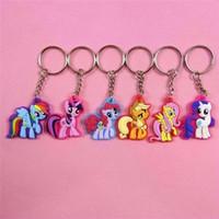 Wholesale Keychain Cute - 50PCS My Cute Little Horse Keychain Poni Key Chains Rarity Fluttershy Dash Keys Chain keyring Action Figures Gifts headwear