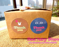 Wholesale bear favor bags resale online - 600pcs Glossy Laminated Happy Bear Thank You Seal Sticker Gift Point Seal Label Sticker For Party Favor Gift Bag Candy Box Decor