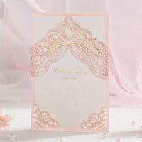 Wholesale Red Wedding Invites - Hot Selling Wedding Invitations Cards Free Personlized Print Laser Cut Hollowed Elegant Wedding Invites Favors Dropship