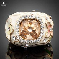 Wholesale swarovski ring free shipping resale online - MOZEL Fashion Jewelry Gold Plated Swarovski Crystal Flower and Green Leaves Design Women Ring TR0004