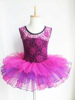 Wholesale Dancewear Vest - Girls Ballet Tutu Lace Ruffle Tank Vest Leotard Skirt Vestidos 3-16Y Kids Dancewear Ballet Tutu Dance Costume Children
