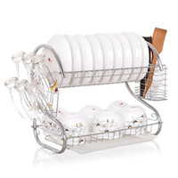 Wholesale Double Dish Rack - Double Layer Dish Rack S-Shaped Metal Kitchen Organizer Storage Shelf Plate Cutlery Cup Drain Bowl Rack Sponge Holder LZ0328