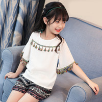 Wholesale Ethnic Pants - Everweekend Girls Tassel Tees with Pants 2pcs Sets Lovely Kids Pink and White Color Clothes Cute Baby Ethnic Style Summer Outfit