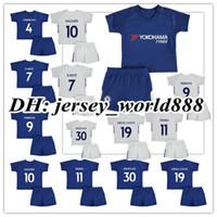 Wholesale Chelsea Orange - 17 18 kids Chelsea home blue soccer Jersey Kits PEDRO FABREGAS HAZARD DIEGO COSTA MORATA KANTE WILLIAN Away white child youth Football Shirt