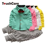 Wholesale Kids Shirts Glasses - Wholesale- Gentleman Kids Clothing Set Glasses Tie Long Sleeve T-shirts + Stripe Pants Children Fashion Suit Two Piece Suit Kids set