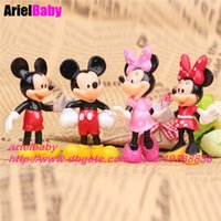 Wholesale Plastic Birthday Cake Toppers - New 4PCS Mickey Mouse Minnie Clubhouse 7.5cm Kawaii Action Figure Toys Cartoon Model Cake Topper Kids Birthday Gift