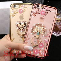 Wholesale Luxury Bling Diamond Ring Holder Case Crystal TPU for Iphone s plus iphone plus Samsung Galaxy S7 edge S8 plus Kickstand