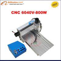 yönlendirici milleri toptan satış-Toptan-Profesyonel 3 Eksenli CNC Router metal ahşap oyma için 6040 0.8KW CNC Mili