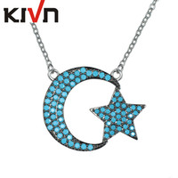 Wholesale Crescent Moon Star Pendant - KIVN Fashion Jewelry Stunning Pave CZ Cubic Zirconia Crescent Moon Star Pendant Necklaces for Women Birthday Christmas Gifts