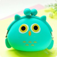 Wholesale Silicone Coin Wallet - Wholesale- New Fashion Lovely Kawaii Candy Color Cartoon Animal Women Girls Wallet Multicolor Jelly Silicone Coin Bag Purse Kid Gift