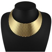 Wholesale Wide Gold Choker - Wholesale Punk Gold Honeycomb Design Torques Chokers Fashion Women Wide Neck Fit Bib Wide Collars Necklaces Statement Jewelry