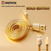 Wholesale Golden Usb - 100% Original REMAX Golden Micro USB Data Cable 1M Fast Transfer Charger Line PVC Cable For Android Samsung Xiaomi Phones with Retail Box