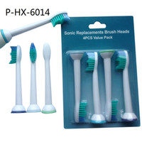 Wholesale Toothbrush Head Wholesaler - Electric Toothbrush Heads Replacement For Philips Sonicare Hygiene Care Clean P-HX-6014 HX6014 400pcs lot 100set Neutral Package