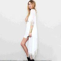 Wholesale Hollow Cardigan - 2017 Women Blouses Free Size Sun-proof Tassels Cardigan Women Tops Chiffon Batwing Blouse Kimono Cardigan Chemise Femme