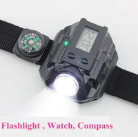 Wholesale Camping Watches Compass - Rechargeable Variable-output Led Wristlight Flashlight Compass Watch Torches lashlight Waterproof Wrist Lighting Lamp LED Strobe Light SOS F