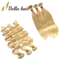 Wholesale bleached honey human hair weave for sale - Group buy 3pcs A Honey Blonde Human Hair Weave Natural Straight Blonde Bundles Brazilian Hair Extensions Body Wave Bella Hair Bundles