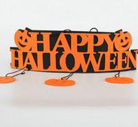 Wholesale happy window - New Halloween Decoration HAPPY HALLOWEEN Hanging Hang Tag Window Decoration Pumpkin Hanging Strips