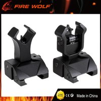 Wholesale Iron Folding - FIRE WOLF 1 Pair Folding Flip up Front Rear Iron Sight Set Dual Diamond Shape BUIS for 20mm Rail