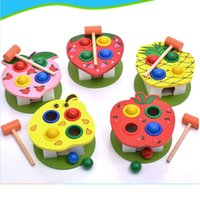 Wholesale Pineapple Games - Fashion Education Wooden Hammering Bench Children Toddlers Toy Hammer Colourful Wood Pegs Game knock ball pear strawberry apple pineapple
