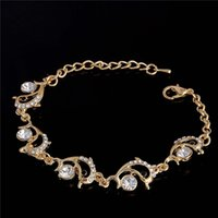 Wholesale Dolphin Anklets - Wholesale-Free shipping Wholesale 18K Gold Filled Charm Bracelets Anklets Girl Cute Dolphin Bangles Austrian Crystal Women Jewelry TL335