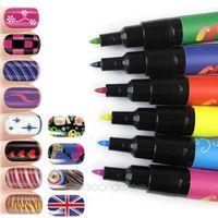 Wholesale Orange Gel Pen - Wholesale-Nail Art Accessories Beauty Design Painting Pen Drawing Gel Tool for UV Gel Polish Nail Manicure Pens #45