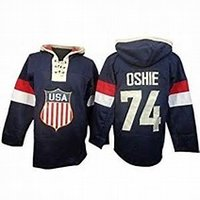 Wholesale usa hoodies - Factory Outlet Best quality 2014 Sochi Team USA 74 T.J. Oshie Blue Home Cheap Embroidery Logos Ice Hockey Hoodies Accept Mix Order