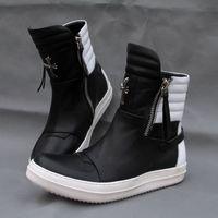 Wholesale Korean Knee High Boots Fashion - European rick high top leather double zipper men's shoes fashion flat Korean version of rivets flat personality tide boots