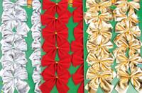 arcos de regalo rojo al por mayor-Adornos de navidad decoración del arco adorno colgante árbol guirnalda truco de la guirnalda pre-atada cinta de terciopelo decoración del partido regalo del arco 6 cm oro plata roja